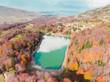 Green lake (mtsvanetba) in autumn. Adjara, Georgia. Aerial view.