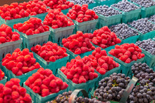 Variety Of Fresh Fruit For Sale On A Farmers Market Stall