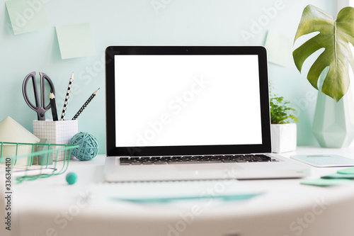 Laptop at trendy home office and books around, Homeschooling concept Canvas-taulu