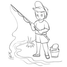 A Boy Stands On The Riverbank With A Bucket And Holds A Fishing Rod In His Hands, He Catches A Fish, Outline Drawing, Coloring, Isolated Object On A White Background, Vector Illustration,