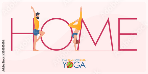 Papel de parede Coronavirus or covid-19 banner in stay home and do yoga at home concept