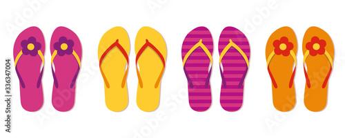 set of colorful flip flops summer collection swim wear with flower vector illust Fototapete