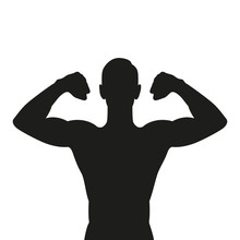 Muscular Strong Man Silhouette Isolated On White Background Vector Illustration EPS10