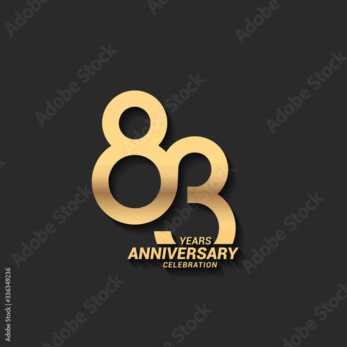 Papel de parede 83 years anniversary celebration logotype with elegant modern number gold color