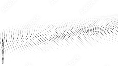 Obraz Vector abstract white futuristic background. Big data visualization. Digital dynamic wave of particles. - fototapety do salonu