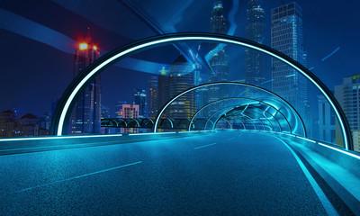 Futuristički dizajn neonskog svjetla i staklene fasade tunela nadvožnjaka s pozadinom noćnog gradskog pejzaža. Kombinirana tehnika.