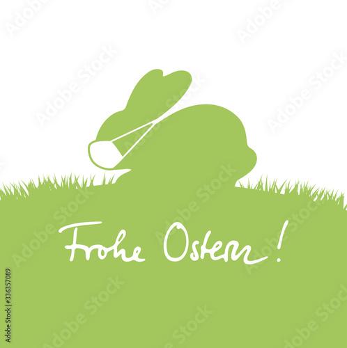 Grafik Frohe Ostern mit niedlichem Osterhasen und Mundschutz  - 336357089