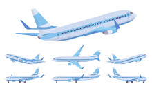 Passenger Plane Blue Stripe Se...