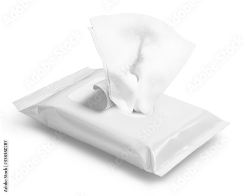Wet wipes flow pack, isolated on white Slika na platnu