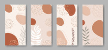 Set Of Vector Vertical Banners With Abstract Forms And Leaves Ornament