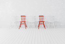 Red And White Chairs In A Whit...