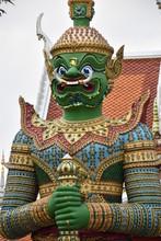 Green Dvarapala Statue, Wat Arun, Bangkok, Thailand 2