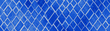 Abstract Phantom Blue Geometric Rhombus Grid Tiles Texture Background Banner Panorama