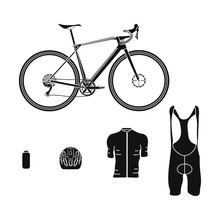 Gravel Bike Kit On White Background Vector