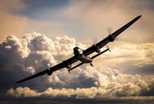 WW2 Bomber In The Night Sky
