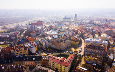 Panoramic view from the drone on the city Lublin. Poland