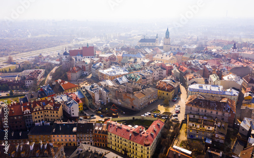 Obraz Panoramic view from the drone on the city Lublin. Poland - fototapety do salonu