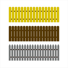 Set Of Vector Wooden Fences An...