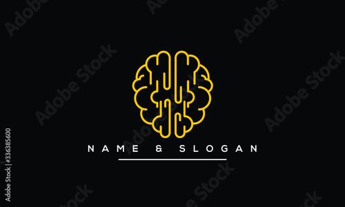 Creative Brain, idea, Technology Concept Logo Design Template Canvas Print