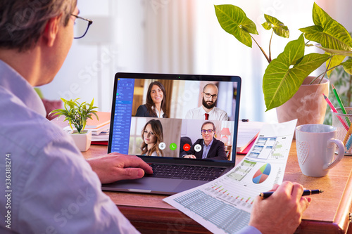 Fototapeta Remote Work - Video Conference Concept - Working At Home