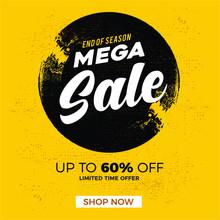 Sale Banner, Mega Sale, End Of...