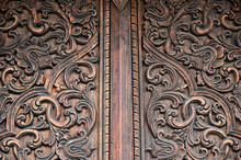 Close Up Of Classical Decorative Pattern Of Wood Carving