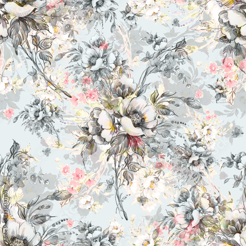 Watercolor seamless pattern bouquet of wildflowers