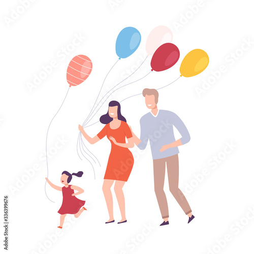 Fototapety, obrazy: Family with Colorful Balloons, Smiling Mother, Father and their Daughter Celebrating Holiday Vector Illustration