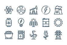 Energy And Eco Power Related Line Icon Set. Electricity And Power Vector Linear Icons.