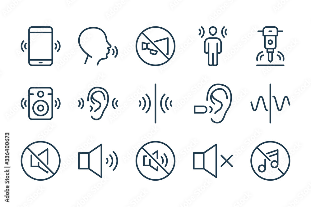 Fototapeta Noise and Sound pollution line icons. Loud sound and Echo vector linear icon set.