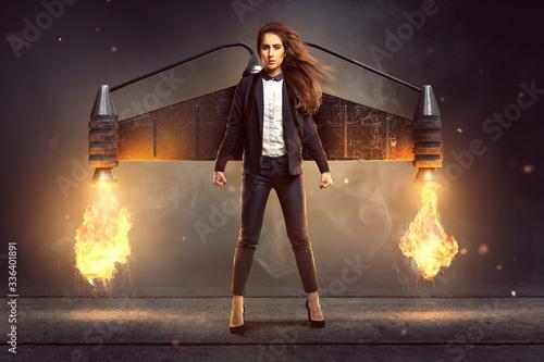 Fototapeta Geschäftsfrau mit Jetpack obraz