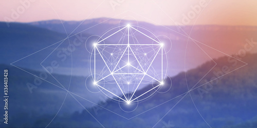Fotografía Merkaba sacred geometry spiritual new age futuristic illustration with interlock