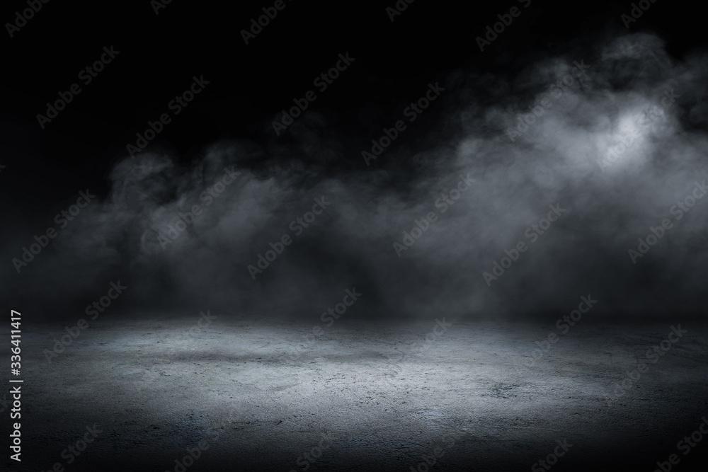 Fototapeta concrete floor and smoke background