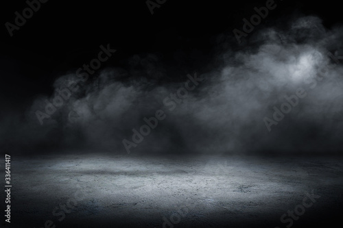 concrete floor and smoke background