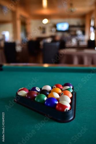 pool table with balls Wallpaper Mural