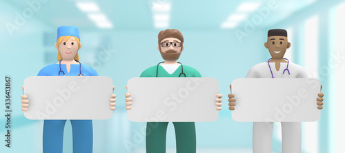 Vászonkép Multinational team of doctors in the medical interior are holding an empty board, template, copy space layout