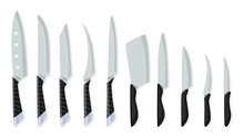 Set Of Butcher Meat Knives For Design Butcher Themes. Different Kind Of Knives For Chefs, Knife Icon For Butcher Shop. Cutlery Icon Set - Vector Realistic Kitchen Knives Isolated