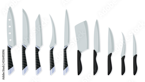Cuadros en Lienzo Set of butcher meat knives for design butcher themes