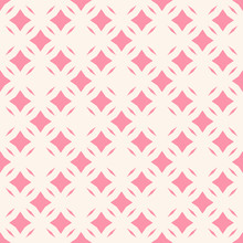 Vector Abstract Floral Seamless Pattern. Diamond Grid Ornament. Subtle Ornamental Background. Pink And White Color. Simple Geometric Texture With Small Rhombuses, Lines, Tiles. Elegant Repeat Design