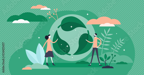 Obraz Green leaf recycle symbol vector illustration in flat tiny persons concept. - fototapety do salonu
