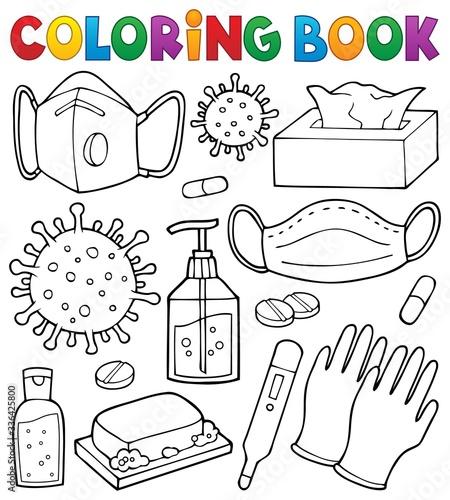 Coloring book virus prevention set 1 Canvas
