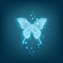 Glowing Background With Neon Blue Butterfly On White Background