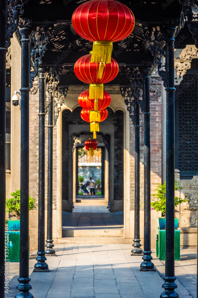 GUANGZHOU, CHINA, 18 NOVEMBER 2019: Corridor in the Chen Clan Ancestral Hall