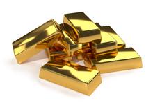 Gold Bars Ingot On White Backg...