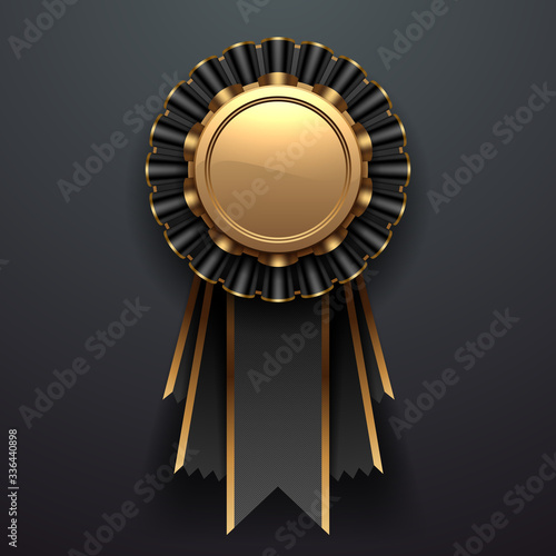 Gold and black award with ribbons Wallpaper Mural