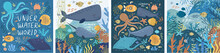 Underwater World! Set Posters Ocean Or Sea With Various Fish, Octopus, Crab, Submarine, Stingray, Whale, Narwhal, Sea Shells, Starfish, Seaweed, Water Plant. Vector Illustration Banner, Card, Postcard