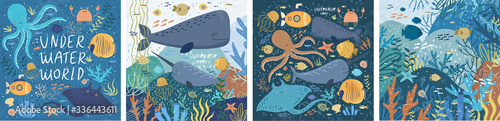 Underwater world! Set posters ocean or sea with various fish, octopus, crab, submarine, stingray, whale, narwhal, sea shells, starfish, seaweed, water plant Wallpaper Mural