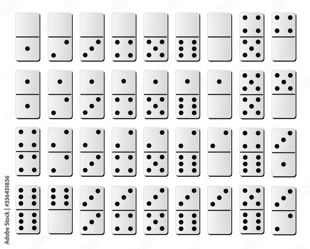 Fototapeta Dominoes or domino tiles white vector isolated realistic mockups with black spots number for game on white background