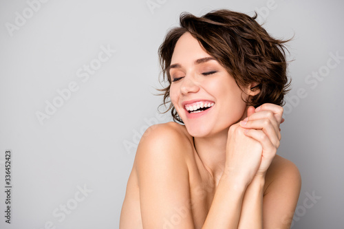 Obraz Portrait of cheerful lovely pretty girl enjoy her skin care palstic sugery aesthetic procedure make her body soft fresh isolated over gray color background - fototapety do salonu