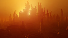 Futuristic Architecture Rendering. Science Fiction Cityscape In Sunset Colors. 3D Rendering